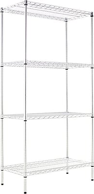 Alera Industrial Wire Shelving, 4 Shelves, Silver, 72