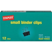 "Staples® Binder Clips, Small, 3/4"" Width, 3/8"" Capacity, Black, 12/Pk"