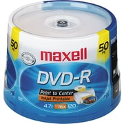 Maxell DVD-R, Printable White, 4.7GB, 120 Minutes, 50/Pk