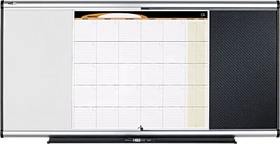 Quartet® Prestige® Total Erase® 3-In-1 Whiteboard, Bulletin Board & Calendar, Silver/Black Frame, 3'W x 2'H