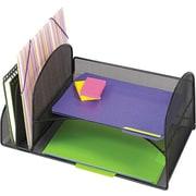 "Onyx Mesh Desk Organizer, 2 Vertical/Horizontal Sections, 17"" x 10 3/4"" x 7 3/4"", Black"