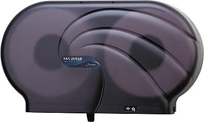 San Jamar Twin Jumbo Bath Tissue Dispenser, Plastic, Transparent Black Pearl (R4090TBK) SJMR4090TBK