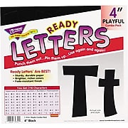 """Trend Pin-up Ready Letters, 4"""", Pre-Punched, Black"""