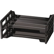 Side Load Letter Desk Tray, Two-Tier, Plastic, Black