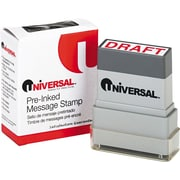 """Universal Pre-Inked """"DRAFT"""" Message Stamp, 9/16 x 1 11/16, Red"""