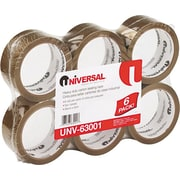 "Universal Box Sealing Tape, 3"" Core, Tan, 2"" x 55 Yards, 6 RL/Pk"