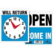 """Headline® Reversible """"OPEN/WILL RETURN"""" Business Sign with Clock, 7 1/2"""" x 9"""", 1 each"""