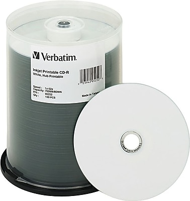 Verbatim 700MB 80MIN 52X White Inkjet/Hub Printable CD-R Spindle, 100/Pack (95252)