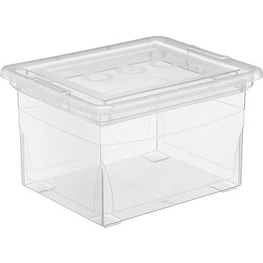 Staples® Plastic File Tote, Clear