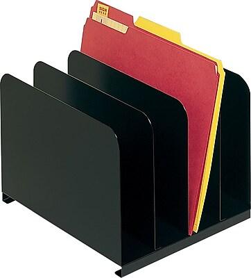 SteelMaster® Steel Vertical Organizer, 4 Compartments, Black