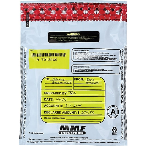 MMF Industries™ FRAUDSTOPPER® Single-Pouch Deposit Bags, White, on what time does radio shack close, what time does starbucks close, what time does rite aid close, what time does costco close, what time does toys r us close,