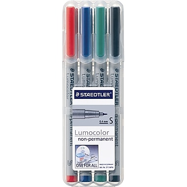 Staedtler® Lumocolor Non-Permanent Pens, Super-Fine Tip, Assorted, 4/Pack