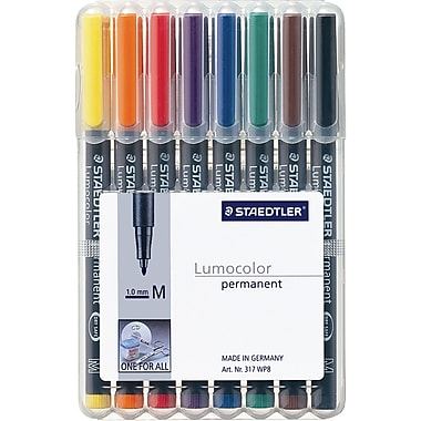 Staedtler® Lumocolor Permanent Pens, Medium Tip, Assorted, 8/Pack