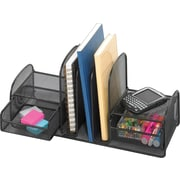 Safco Onyx Mesh Desk Organizer with Three Vertical Sections/Two Baskets