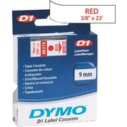 "DYMO® D1 1"" Tape Cartridge for Electronic Label Makers, Red on White, 3/8"" W x 23'L"