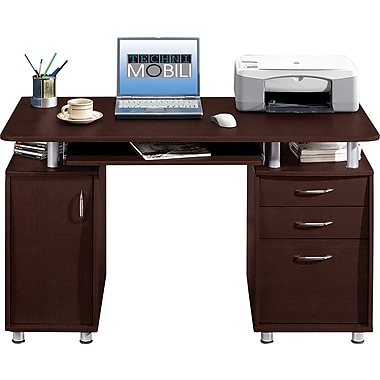 Techni Mobili Double Pedestal Laminate Computer Desk, Chocolate