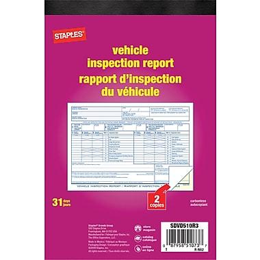 Staples® - Livret pour rapport d'inspection de véhicule