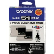 Brother LC51 Black Ink Cartridges, Twin Pack (LC512PKS)