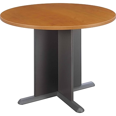 BushMD – Table de conférence ronde 42 po de la Collection Cubix, fini cerisier naturel/gris ardoise