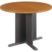"""Bush Cubix 42"""" Round Conference Table, Natural Cherry and Graphite Gray"""