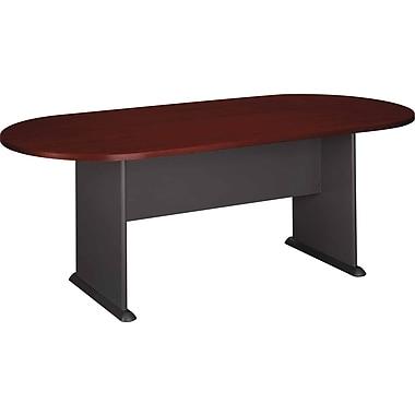 Bush - Table de conférence ovale de la collection Westfield, cerisier acajou et gris graphite