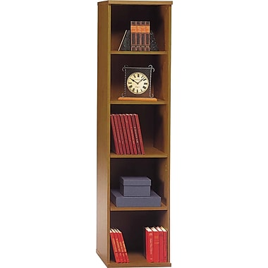 Bush® Westfield Collection Open Single Bookcase, Warm Oak