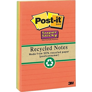 Post-it(R) Recycled Super Sticky Notes, 4