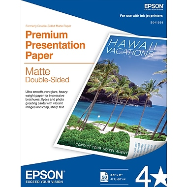 Epson® Double Sided Premium Presentation Paper White 8 1/2