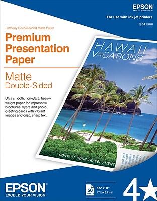 Epson® Double Sided Premium Presentation Paper, Matte Finish, 8.5