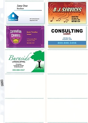 Staples Untabbed Business Card Pages 10 pack 10Pack 15934