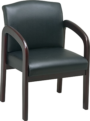 Office Star Guest Chair, Black Faux Leather, Guest, Mahogany-Finish Wood (WD383-U6)