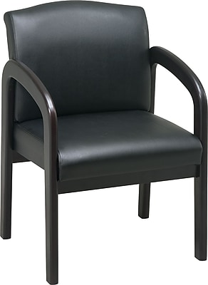 Office Star™ Wood Guest Chair, Espresso Finish Wood with Black Faux Leather