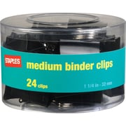 "Staples® Medium Metal Binder Clips, Black, 1 1/4"" Size with 5/8""Capacity"