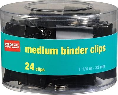 "Staples® Medium Metal Binder Clips, Black, 1 1/4"" Size with 5/8""Capacity"