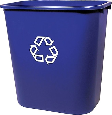 Rubbermaid 2955-73 Deskside Recycling Container With Recycle Symbol, Medium, 13 5/8 qt 756067