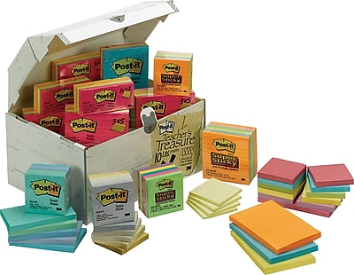 Post-it Treasure Chest, Assorted Sizes, Assorted Colors (ED65V10)