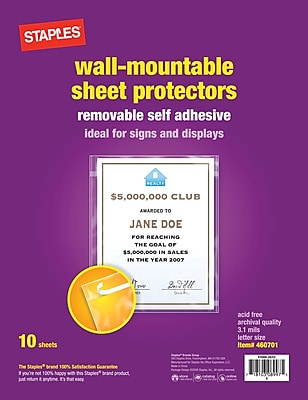 Staples Diamond Clear Wall-Mountable Display Protectors, Clear, Letter Size, 10/Pack (15945)