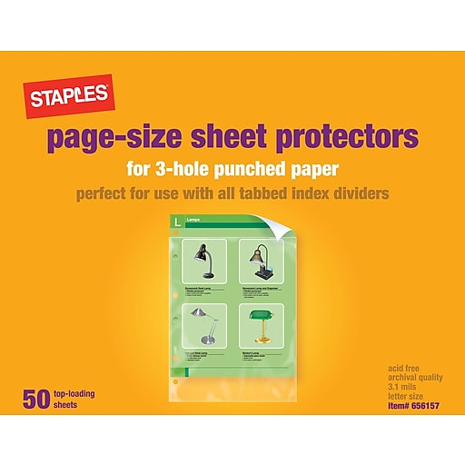 Staples sheet protectors for 3 hole punched papers clear 50pack httpsstaples 3ps7is malvernweather Choice Image
