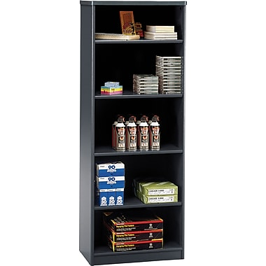 Bush® Cubix Collection Bookcase, 5-Shelf, White Spectrum & Slate Grey