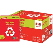"Staples® 100% Recycled Copy Paper, 8 1/2"" x 11"", Case"
