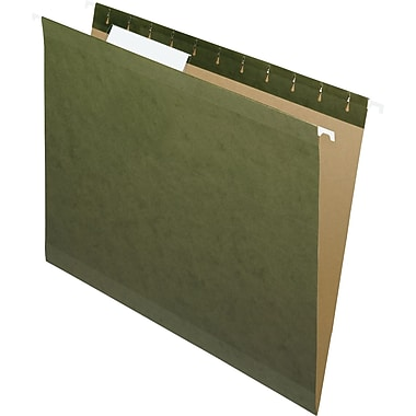 Pendaflex® Reinforced Hanging File Folders, 3 Tab Positions, Letter Size, Standard Green, 25/Box (4152 1/3)