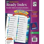 Ready Index Double-Column Table of Contents Dividers, 24 Tab Set, Punched