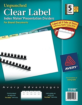 Avery Print & Apply Clear Label Unpunched Dividers, Index Maker Easy Apply Printable Label Strip, 5 Pastel Tabs, 25 Sets (11998)