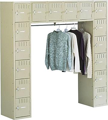 Tennsco Sixteen Box Compartment and Coat Bar System, Medium Gray