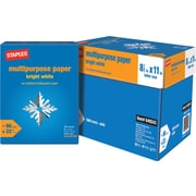 """Staples® Bright <span style=font-family:arial>White Multipurpose Paper</span>, 8 1/2"""" x 11"""", Case [Gift Card]"""