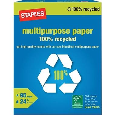 Staples 100% Recycled Multipurpose Paper, Ream