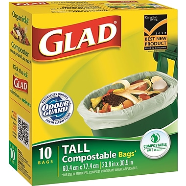 GladMD – Sacs à compost biodégradables, grand format, paq./10