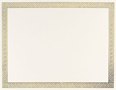 Gold Foil Certificates, Channel Border, 15 Per Pack