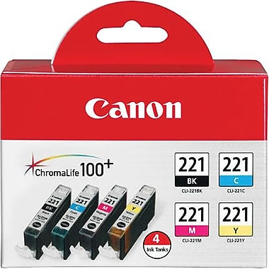 Canon CLI-221 Black and C/M/Y Color Ink Cartridges (2946B004), Combo 4/Pack
