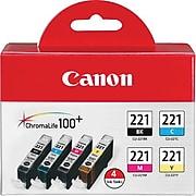 Canon CLI-221 Black/Cyan/Magenta/Yellow Standard Yield Ink Cartridge, 4/Pack (2946B004)
